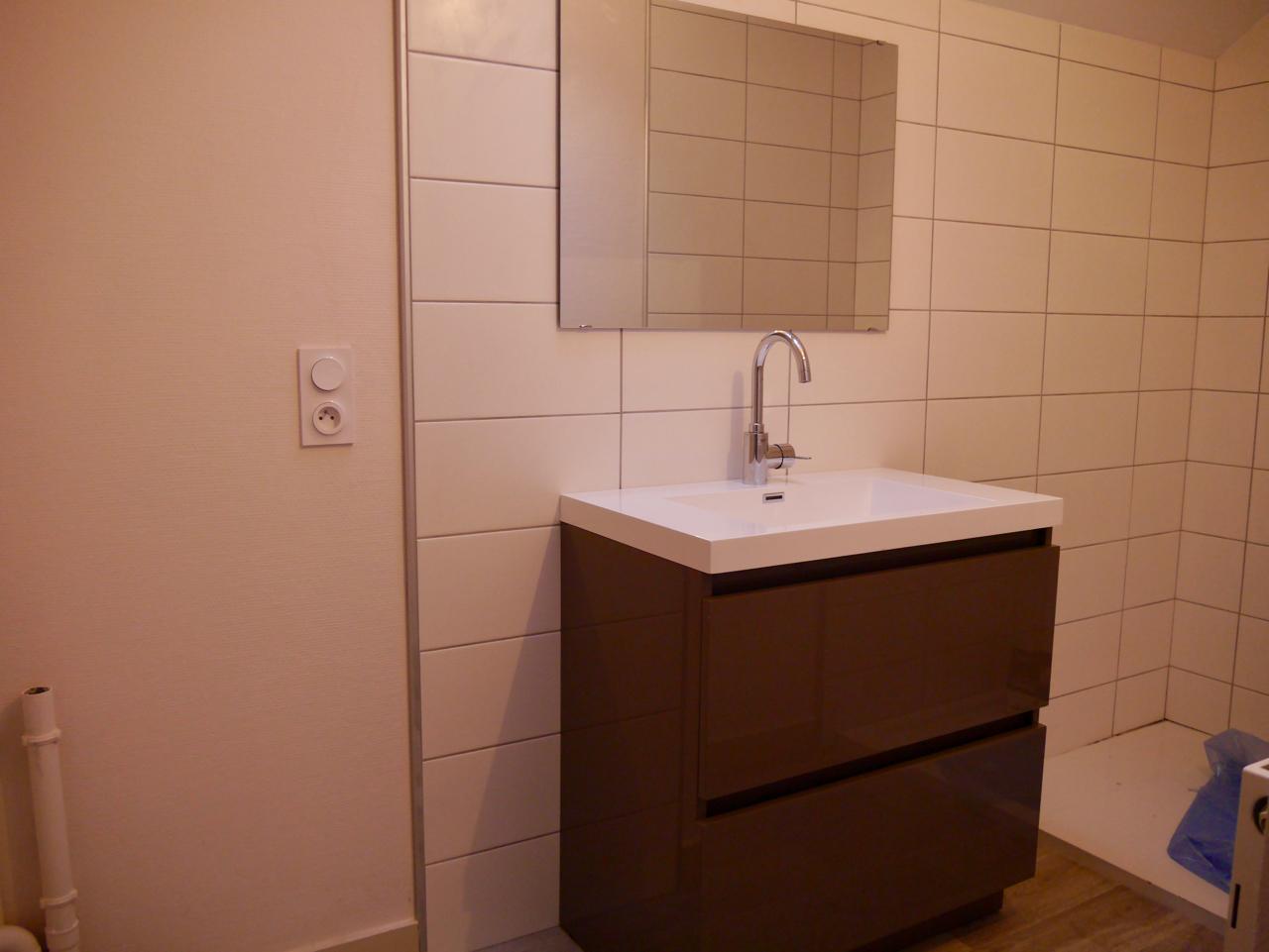 Salle D'eau Neuve Avec Grande Douche Et Emplacement Pour Machine à Laver