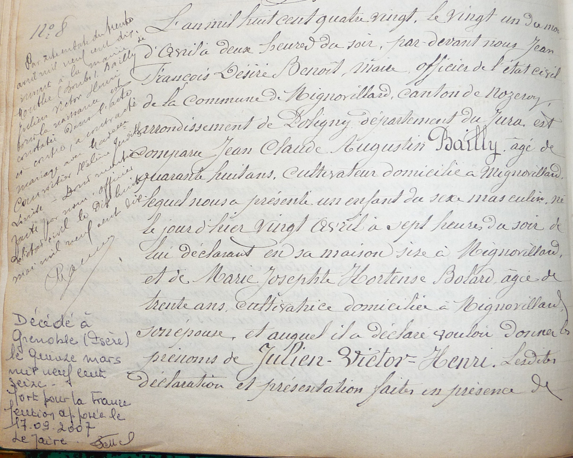 Acte naissance de Julien Victor Bailly - 20 avril 1880
